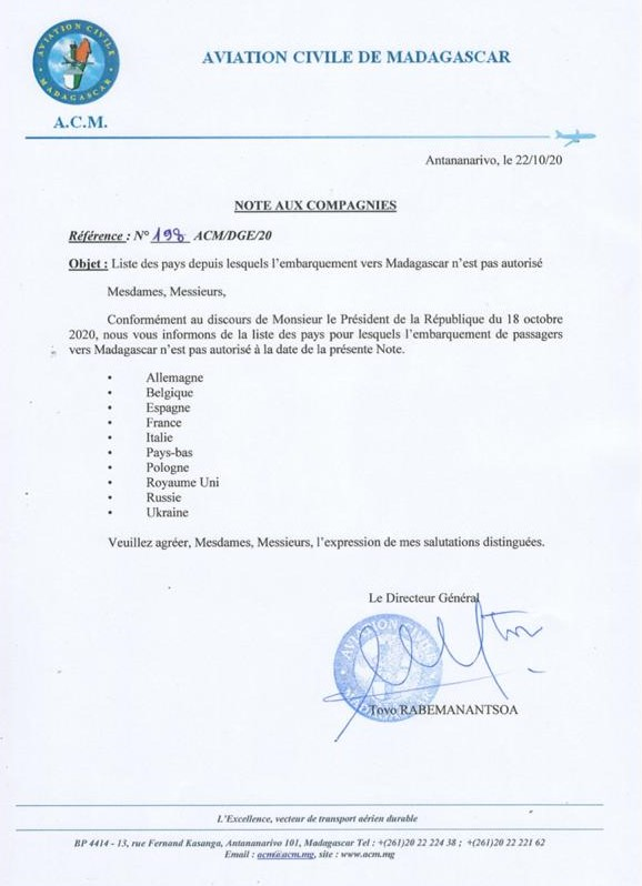 Aviation civile de Madagascar – Note aux compagnies